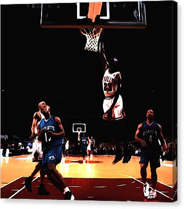 Air Jordan Spreading His Wings Canvas Print by Brian Reaves