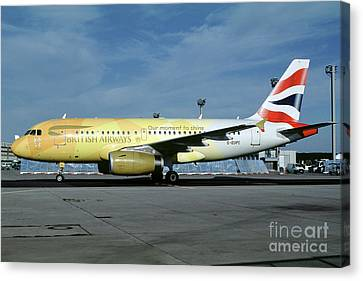 Airbus A319-131, British Airways, G-eupc, Olympic Torch Relay, O Canvas Print by Wernher Krutein