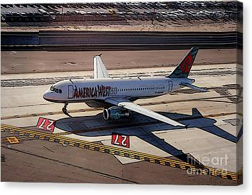 Airbus A320-231 Preparing For Takeoff America West Airlines Canvas Print by Wernher Krutein