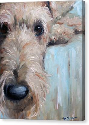 Airedale Blues Canvas Print by Mary Sparrow