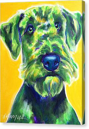 Airedale Terrier - Apple Green Canvas Print by Alicia VanNoy Call