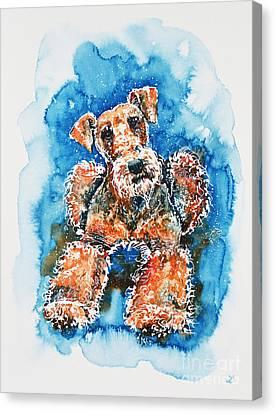 Airedale Terrier Canvas Print by Zaira Dzhaubaeva