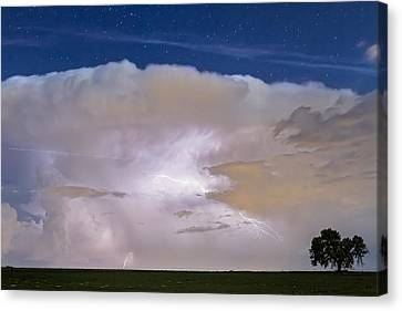 Star Canvas Print featuring the photograph Airliner Lightning Strikes by James BO  Insogna