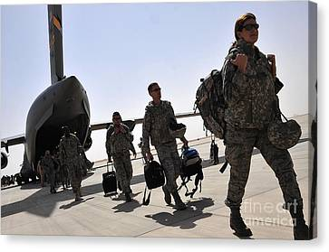 Airmen Arrive In Iraq In Support Canvas Print by Stocktrek Images