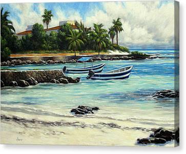 Akumal Bay Mexico Canvas Print by Vickie Fears