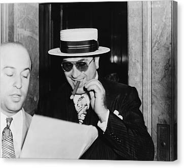 Al Capone, With A Cigar And A Big Canvas Print by Everett