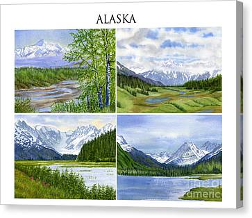 Alaska Landscape Poster Collage 3 With Heading Canvas Print by Sharon Freeman