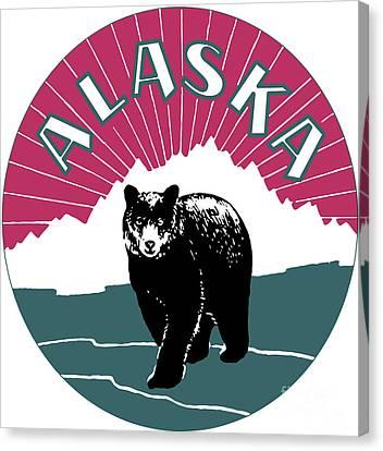 Alaska Travel Black Bear Canvas Print by Heidi De Leeuw
