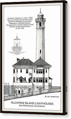 Alcatraz Island Lighthouses Canvas Print by Gene Nelson
