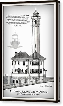 Alcatraz Island Lighthouses - Vignette Canvas Print by Gene Nelson