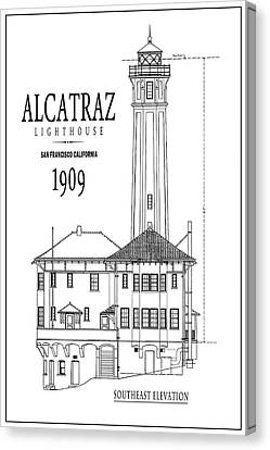 Alcatraz Lighthouse Architectural Drawing Minimal Canvas Print by Daniel Hagerman