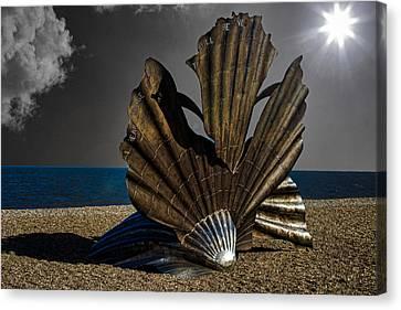 Aldeburgh Beach Shell Sculpture Canvas Print by Martin Newman
