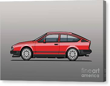 Alfa Romeo Gtv6 Red Canvas Print by Monkey Crisis On Mars