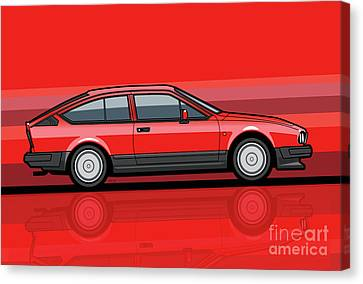 Alfa Romeo Gtv6 Red Stripes Canvas Print by Monkey Crisis On Mars