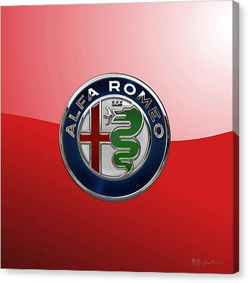 Alfa Romeo New 2015 3 D Badge Special Edition On Red Canvas Print by Serge Averbukh