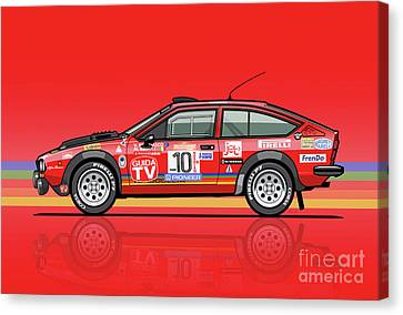 Alfetta Gtv Turbodelta Jolly Club Fia Group 4 1980 Sanremo Rallye Canvas Print by Monkey Crisis On Mars
