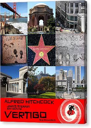 Alfred Hitchcock Jimmy Stewart Kim Novak Vertigo San Francisco 20150608 Text Red Canvas Print by Wingsdomain Art and Photography