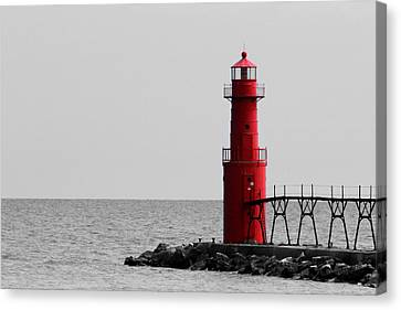 Algoma Lighthouse Bwc Canvas Print by Mark J Seefeldt