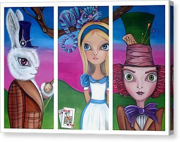 Alice In Wonderland Inspired Triptych Canvas Print by Jaz Higgins