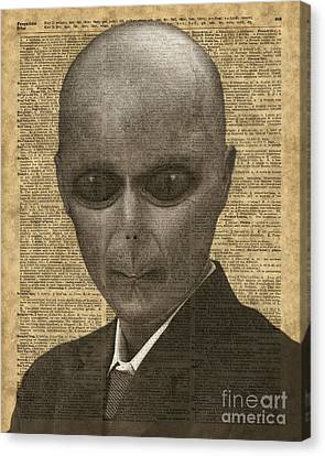 Alien Over Dictionary Page Canvas Print by Jacob Kuch