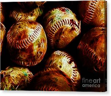 All American Pastime - A Pile Of Fastballs - Electric Art Canvas Print by Wingsdomain Art and Photography