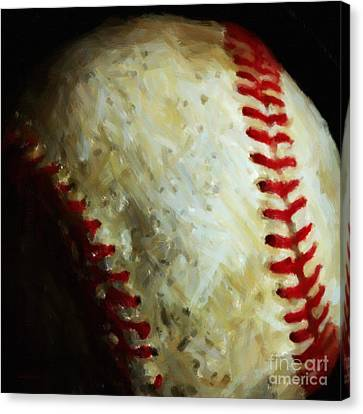 All American Pastime - Baseball - Square - Painterly Canvas Print by Wingsdomain Art and Photography