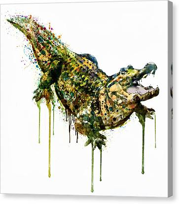 Alligator Watercolor Painting Canvas Print by Marian Voicu