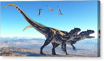 Allosaurus On Mountain Canvas Print by Corey Ford