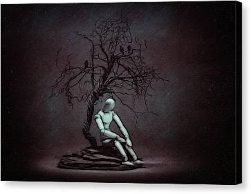 Alone In The Dark Canvas Print by Tom Mc Nemar