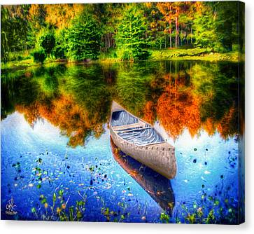 Alone On The Lake Canvas Print by Pennie  McCracken