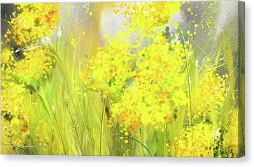 Alyssum Basket Of Gold - Yellow And Gray Abstract Canvas Print by Lourry Legarde