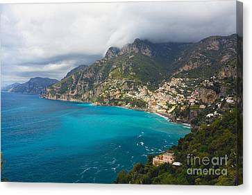 Amalfi Coast Scenic Vista At Positano Canvas Print by George Oze