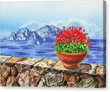 Amalfi Coast Vew Of Anacapri Canvas Print by Irina Sztukowski