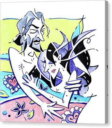 Amantes En La Cama - Liebhaber Im Bett Canvas Print by Arte Venezia