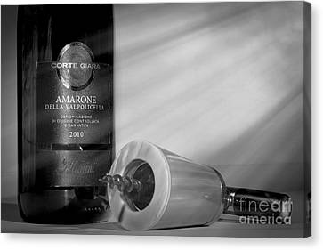Amarone Wine And Ivory Corkscrew Canvas Print by Stefano Senise