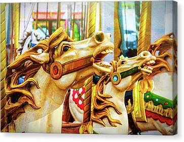 Amazing Carrousel Horses Canvas Print by Garry Gay