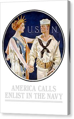 America Calls Enlist In The Navy Canvas Print by War Is Hell Store