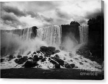American And Bridal Veil Falls With Luna Island And Deposited Talus Niagara Falls New York State Usa Canvas Print by Joe Fox