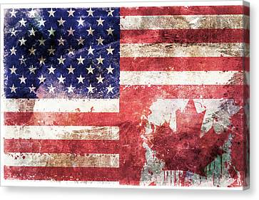 American Canadian Tattered Flag Canvas Print by Az Jackson