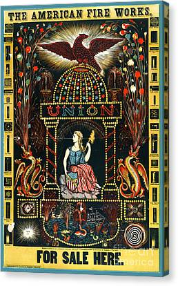 American Fireworks Ad 1872 Canvas Print by Padre Art