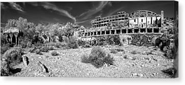 American Flat Mill Virginia City Nevada Panoramic Monochrome Canvas Print by Scott McGuire