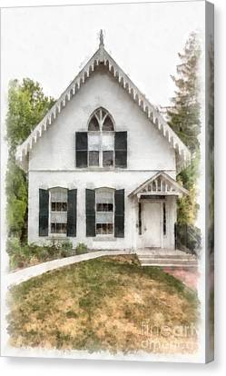 American Gothic Cottage Watercolor Canvas Print by Edward Fielding