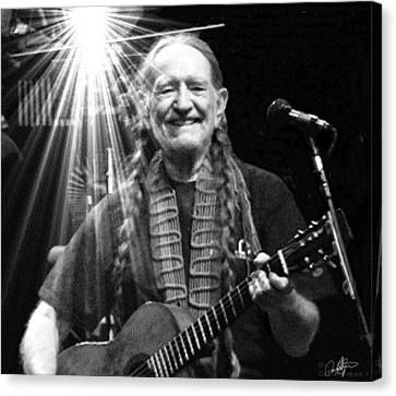 American Icon - Willie Nelson Canvas Print by David Syers