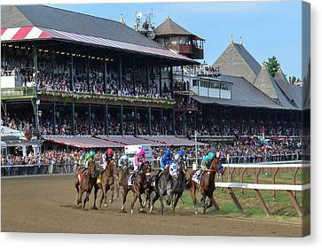 American Pharoah At Saratoga Race Course Canvas Print by William Stephen