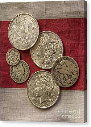 American Silver Coins Canvas Print by Randy Steele