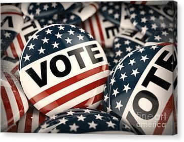 American Vote Button Canvas Print by Carsten Reisinger