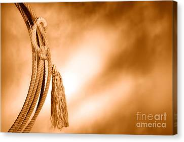 American West Rodeo Cowboy Lariat - Sepia Canvas Print by Olivier Le Queinec