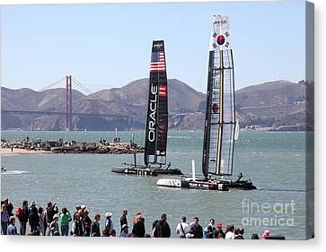 America's Cup Racing Sailboats In The San Francisco Bay - 5d18253 Canvas Print by Wingsdomain Art and Photography