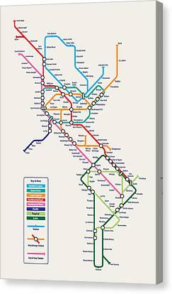 Americas Metro Map Canvas Print by Michael Tompsett