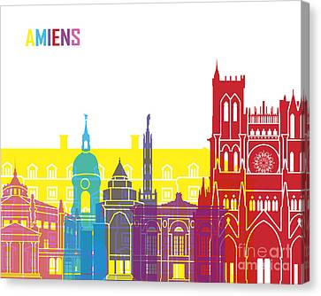 Amiens Skyline Pop Canvas Print by Pablo Romero
